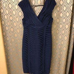 Royal blue V Neck low back  party dress.